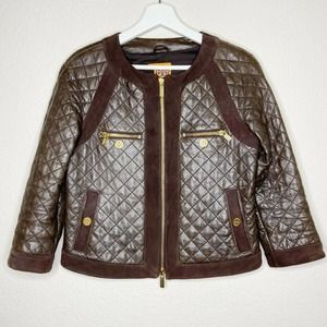 Tory Burch | Quilted Leather Suede Panel Jacket